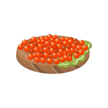 Canape with salmon red caviar cartoon vector Illustration. Illustration