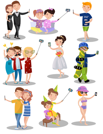 Trendy young people making selfie in different situations set of vector illustrations in cartoon style Vettoriali