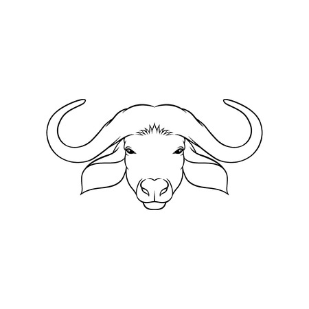 Sketch of muskoxes head, portrait of forest animal black and white hand drawn vector Illustration on a white background Vettoriali