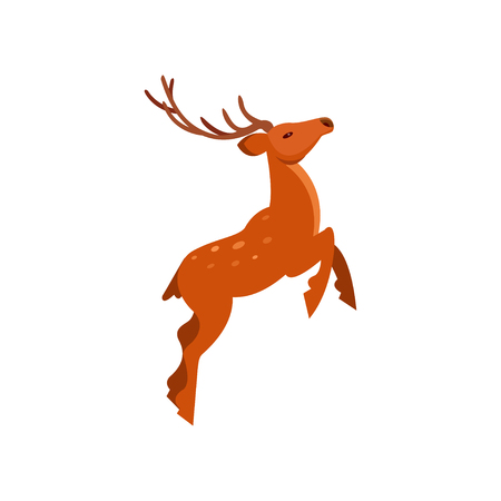 Brown spotted deer with antlers jumping, wild animal cartoon vector Illustration on a white background
