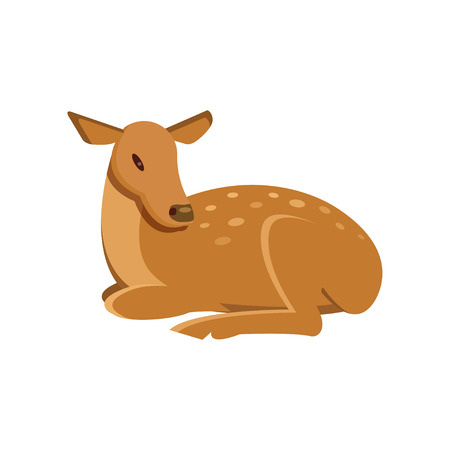 Spotted fallow roe deer lying, wild animal cartoon vector Illustration