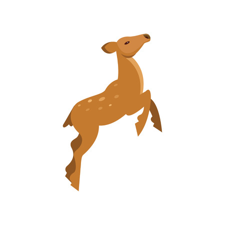 Graceful spotted fallow roe deer jumping, wild animal cartoon vector Illustration