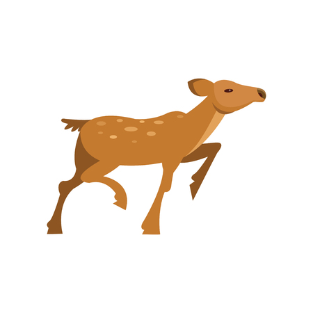 Fallow sika roe deer running, wild animal cartoon vector Illustration Illustration