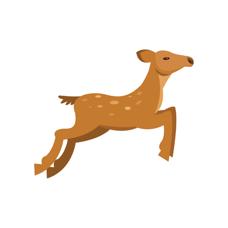 Fallow sika roe deer jumping, wild animal cartoon vector Illustration on a white background