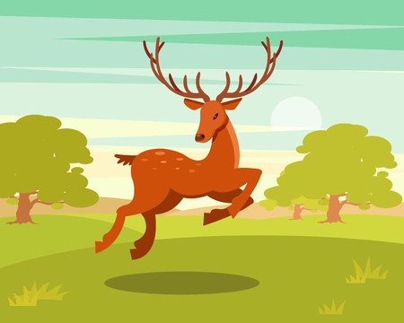 Brown spotted deer with antlers running, wild animal amongst a backdrop of green meadow and forest vector Illustration in cartoon style