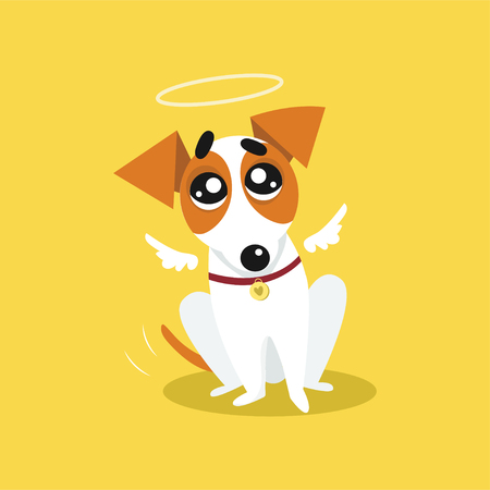 Cute jack russell terrier with angel wings and a halo, funny pet animal character cartoon vector Illustration on a yellow background Ilustracja