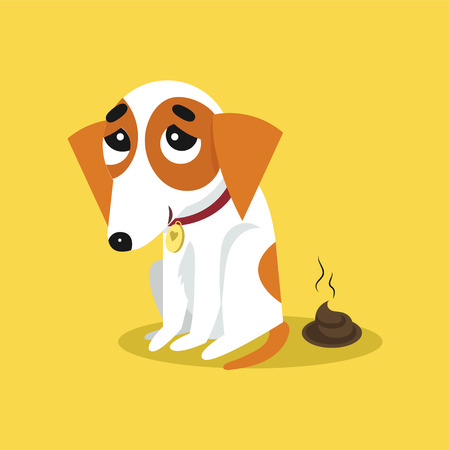 Cute jack russell terrier pooping, funny pet animal character cartoon vector Illustration on a yellow background