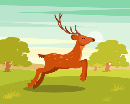Brown graceful deer with antlers, wild animal amongst a backdrop of green meadow and forest vector Illustration in cartoon style