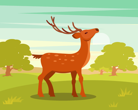 Brown graceful spotted deer with branched horns,, wild animal amongst a backdrop of green meadow and forest vector Illustration in cartoon style