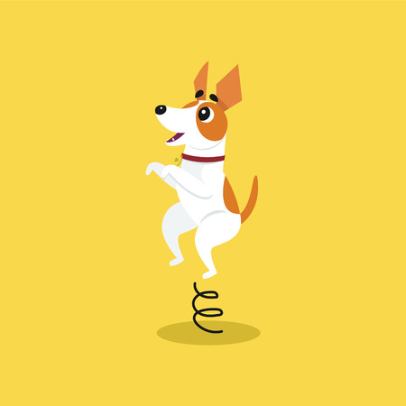 Cute jack russell terrier jumping on springboard, funny pet animal character cartoon vector Illustration on a yellow background