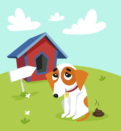 Cute jack russell terrier pooping in front of its kennel in garden on summer day colorful vector Illustration in cartoon style.