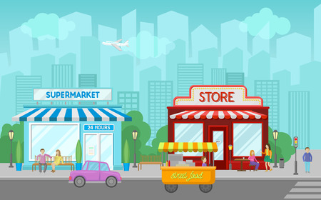 Shops facade, central street with public buildings, urban or village summer landscape vector illustration in cartoon style
