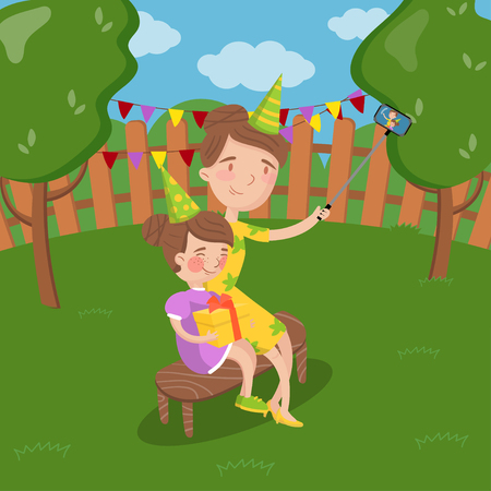 Mother and her daughter wearing party hats taking selfie photo in the garden, summer landscape vector Illustration, cartoon style