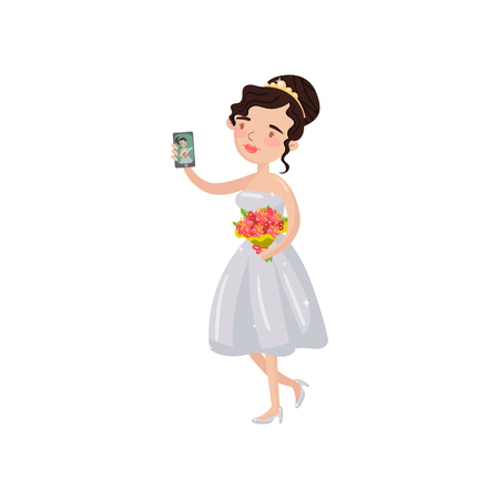 Happy beautiful bride taking selfie photo cartoon vector Illustration