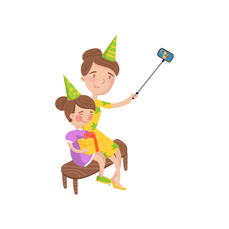 Mother and her daughter wearing party hats taking selfie photo cartoon vector Illustration