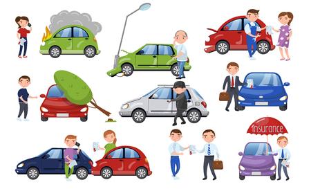 Car crash and accident set, car insurance cartoon vector Illustration.