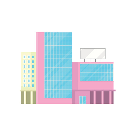 Shopping mall, office building facade, modern city house cartoon vector Illustration Illusztráció