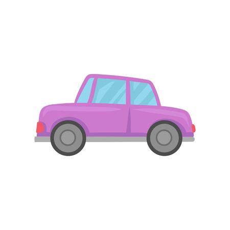 Retro violet car cartoon vector Illustration on a white background. Stock Illustratie