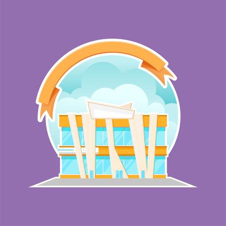 Modern shopping mall building cartoon vector Illustration, design element for label or badge with ribbon