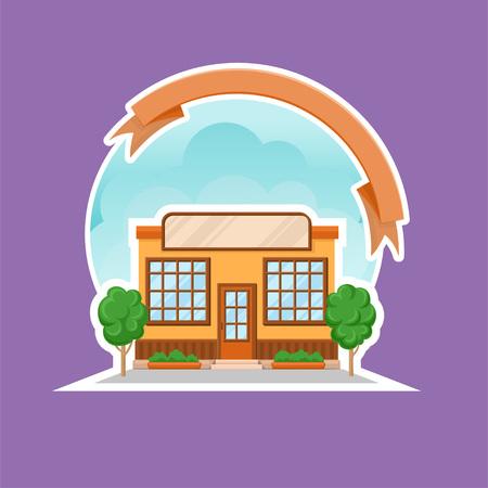 Cafe shop or restaurant building cartoon vector Illustration, colorful design element for label or badge with ribbon