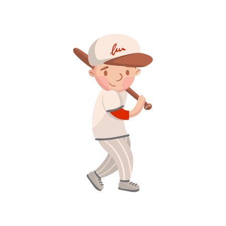 Little boy in white uniform playing baseball, kids physical activity cartoon vector Illustration Vectores