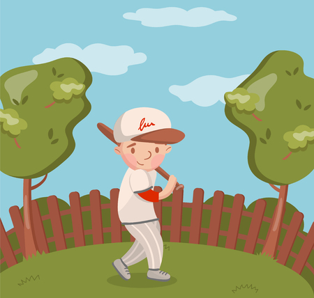 Little boy in white uniform playing baseball on summer landscape background vector Illustration, cartoon style Ilustração