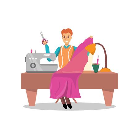 Mannelijke naaister die roze kleding naaien door de vectorillustratie van het naaimachinebeeldverhaal