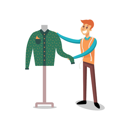 Male dressmaker working at sewing atelier, fashion designer sewing jacket cartoon vector Illustration on a white background Illustration