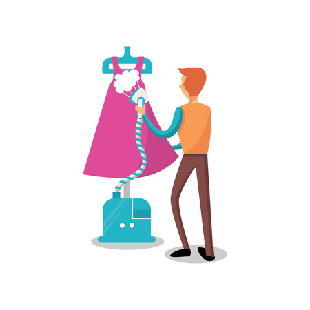 Male dressmaker ironing clothing with steam iron, sewing at atelier cartoon vector Illustration on a white background Illustration
