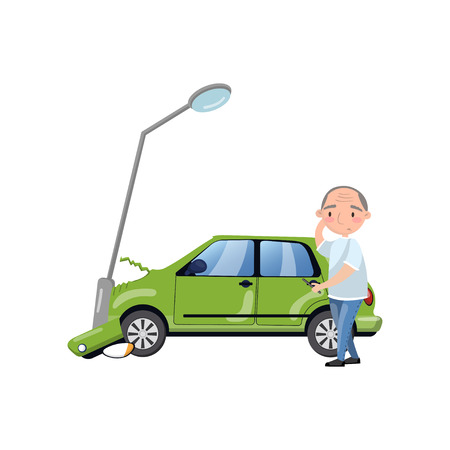 Car bumped at the lamp post, man feeling shocked, car insurance cartoon vector Illustration on a white background