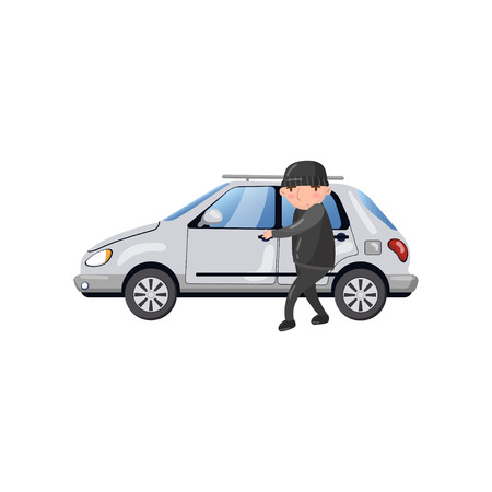 Professional car thief character stealing and breaking car door, auto insurance concept cartoon vector Illustration on a white background Illustration