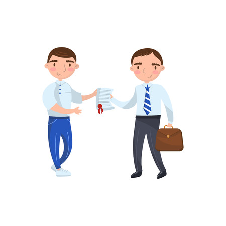 Insurance agent giving documet to his client, auto insurance concept cartoon vector Illustration on a white background Illustration