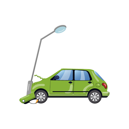 Car bumped at the lamp post, car insurance cartoon vector Illustration on a white background