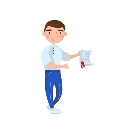 Young man with insurance document in his hands cartoon vector Illustration on a white background