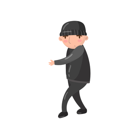 Thief or robber character cartoon vector Illustration on a white background