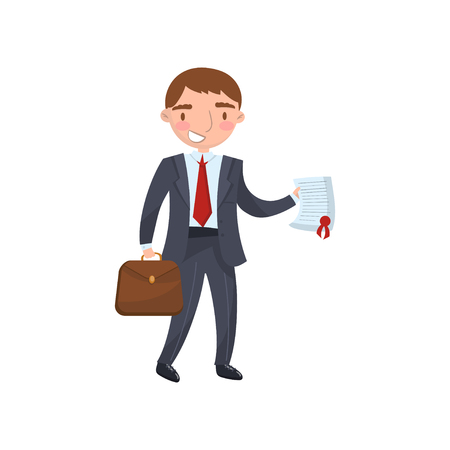 Businessman holding a document in his hands, car insurance concept cartoon vector Illustration