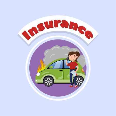 Driver calling for help after car accident, car insurance concept vector Illustration, cartoon style Vettoriali