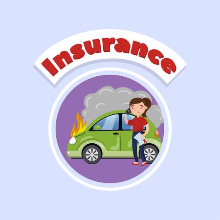 Driver calling for help after car accident, car insurance concept vector Illustration, cartoon style Ilustração
