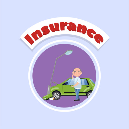 Car bumped at the lamp post, car insurance concept vector Illustration in cartoon style