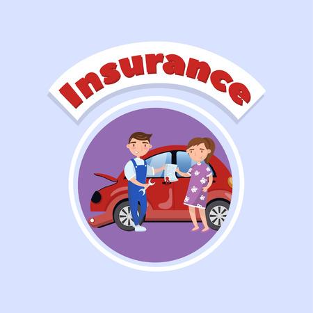 Young woman repairing injured car at mechanic, car insurance concept vector Illustration, cartoon style