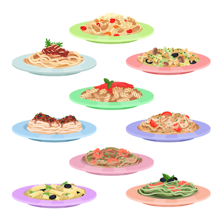 Italian pasta set, spaghetti dishes on plates cartoon vector Illustrations on a white background