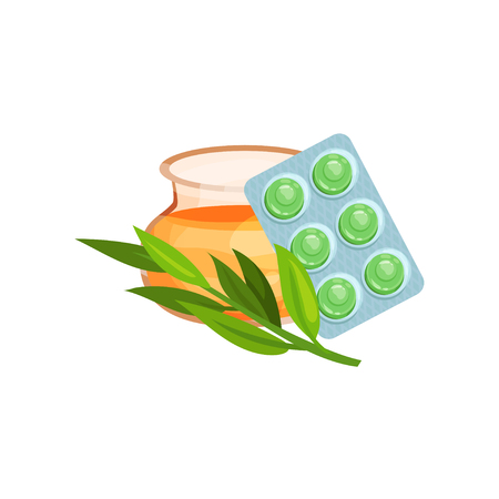 Package of lozenges with honey and eucalyptus herb, flavored sucking candies for sore throat and cough remedy cartoon vector Illustration Illustration