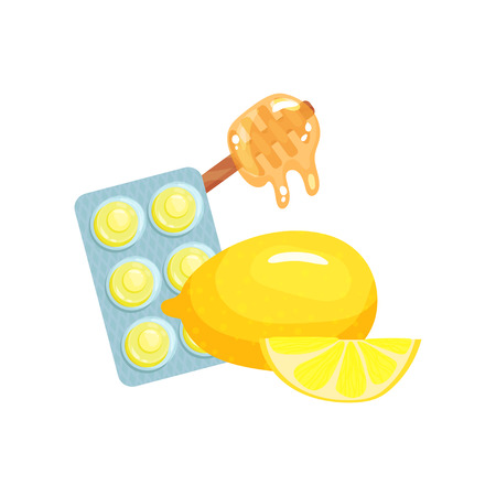 Package of lozenges with honey and lemon fruit flavor tastes, sucking candies for sore throat and cough remedy cartoon vector Illustration on a white background