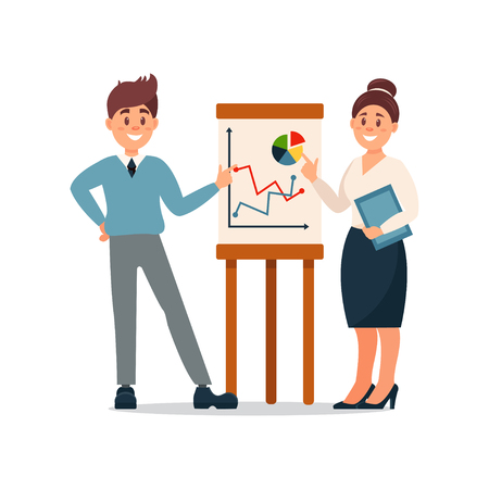 Business people explaining information graphics on flip chart, business characters working in office cartoon vector Illustration on a white background