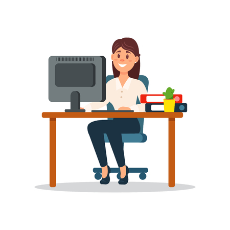 Sorrindo, executiva, sentando, escrivaninha, trabalhando, com, computador, negócio, personagem, trabalhando, em, escritório, caricatura, vetorial, ilustração, ligado, um, fundo branco