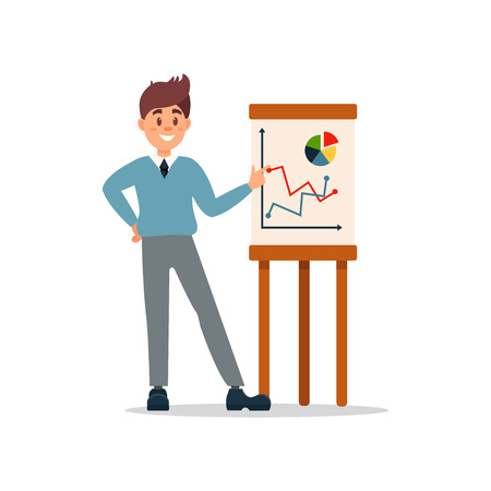 Businessman making presentation and explaining chart on a whiteboard, business character working in office cartoon vector Illustration on a white background