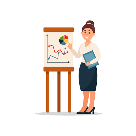 Businesswoman explaining information graphics on flip chart, business character working in office cartoon vector Illustration on a white background