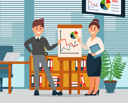 Business people explaining information graphics on flip chart, business characters working in office, modern office interior vector Illustration,
