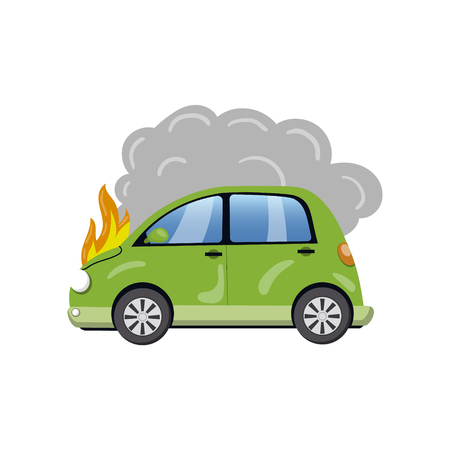 Burning car, auto fire breakdown cartoon vector Illustration on a white background