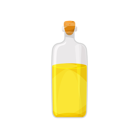Glass bottle filled with veegetable food oil, organic healthy oil product cartoon vector Illustration on a white background